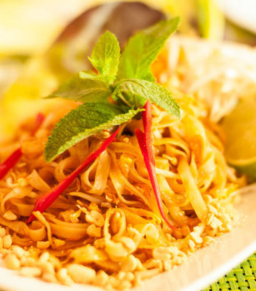 PAD THAI - Fried rice noodles with eggs, spring onions, bean sprouts